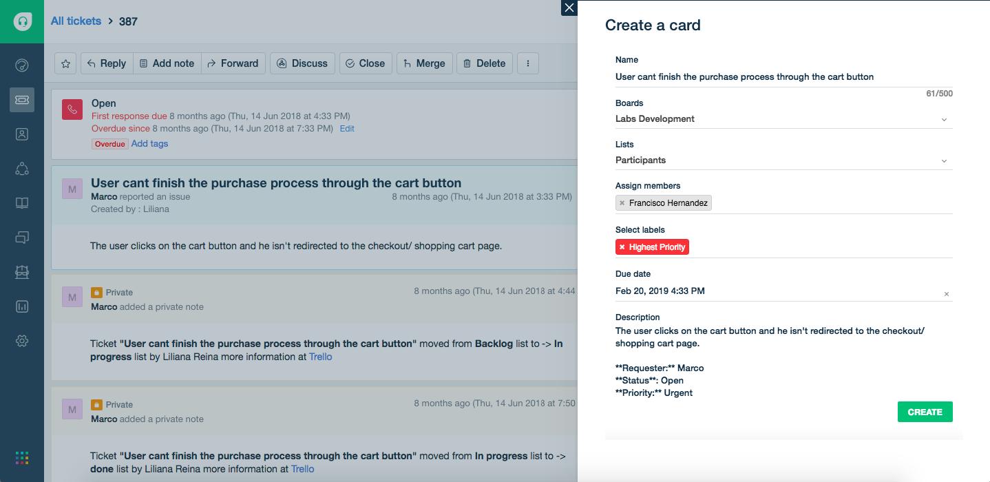 Create Trello card from Freshdesk using Trello app